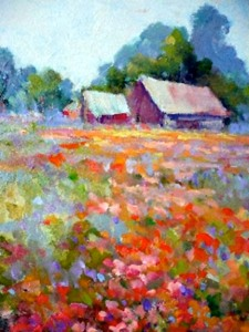 "Barbara Baker, ""Flower Field,"" oil on canvas"